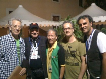 Ray Manzareck, James Burton, Phil Chen, me and Rocco